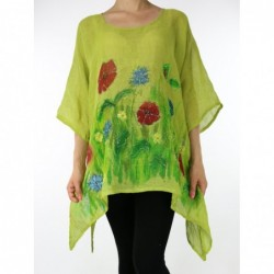 Linen blouse, hand-painted NP
