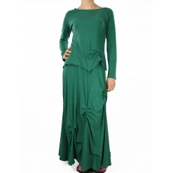 Avant-garde long green skirt with pin-ups