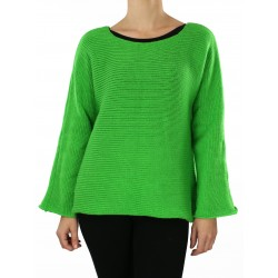 Simple cut women's green sweater with long sleeves.