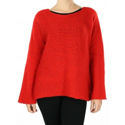 Simple cut women's red sweater with long sleeves.