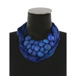 Colorful short necklace made of silk fabric
