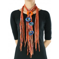 Multicolored necklace made of felt cord dreadlocks