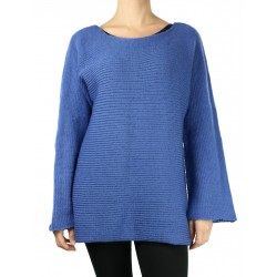 Simple-cut blue women's sweater with long sleeves.