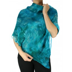 Women's colorful poncho made of silk and delicately wet-felted.