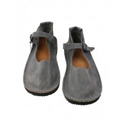 Gray Tex leather sandals