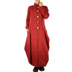 Linen coat of dark brick color.