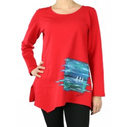 Red cotton blouse, hand-painted