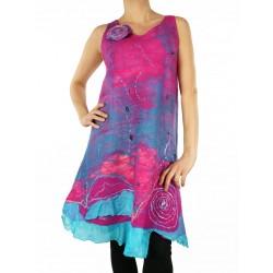 Pink silk, felted dress