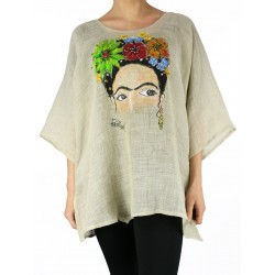 "Linen blouse hand-painted ""Frida"""