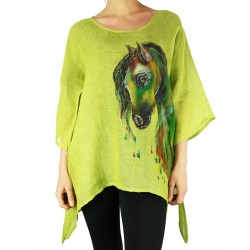 Hand-painted green linen blouse