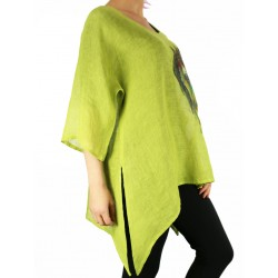 Hand-painted green linen blouse
