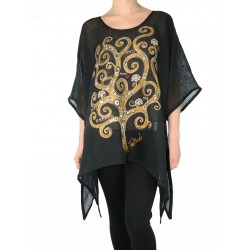 Black linen blouse with elongated sides, decorated with a hand-painted tree