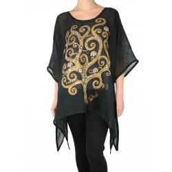 Black linen blouse hand-painted