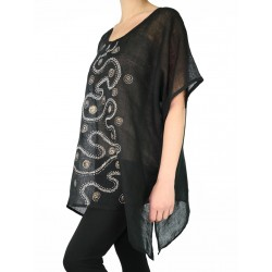 black linen hand-painted blouse