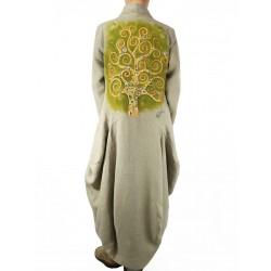 Długi płaszcz lniany, ręcznie malowany