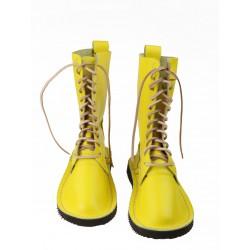 Żółte wysokie buty skórzane