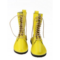 Yellow high leather shoes