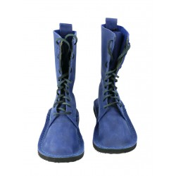 Blue high leather shoes