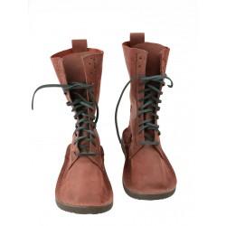 Bordowe wysokie buty skórzane