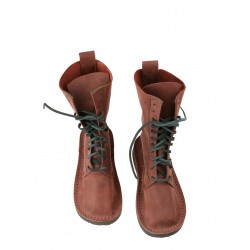 Burgundy high leather shoes