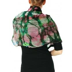 Women's silk poncho, wet felted.