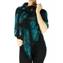 Silk poncho, felted