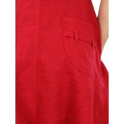 Red linen dungarees, hand-painted