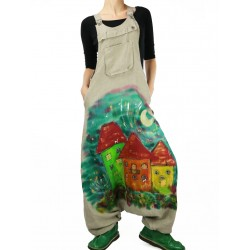 Linen dungarees, hand-painted
