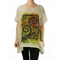 Linen blouse, hand-painted
