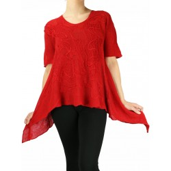 Red linen blouse