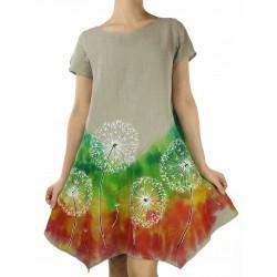 Sukienka lniana, ręcznie malowana NP