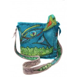 Embroidered and painted handbag in wet-felted wool