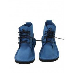Blue leather shoes