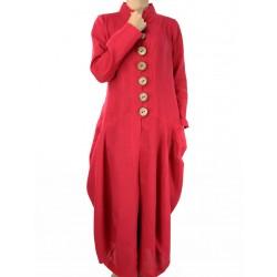 Oryginalny długi płaszcz lniany
