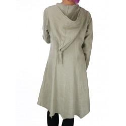 Płaszcz lniany z kapturem ELF