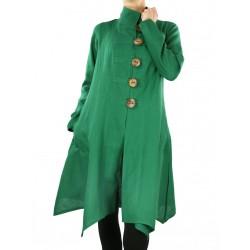 Artystyczny zielony płaszcz lniany