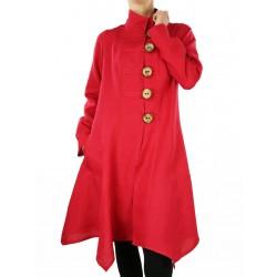 Artystyczny czerwony płaszcz lniany