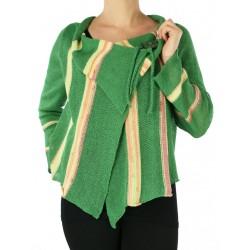 Asymmetrical linen sweater made on a knitting machine