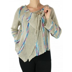 Asymmetrical linen sweater made on a knitting machine