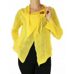 Yellow linen sweater made on a knitting machine