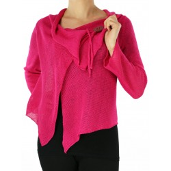 Fuchsia linen sweater made on a knitting machine