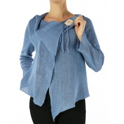 Blue linen sweater made on a knitting machine