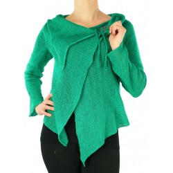 Green linen sweater made on a knitting machine