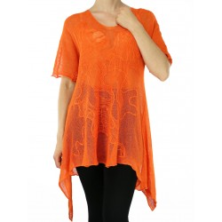 Orange linen blouse