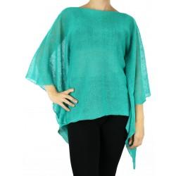 Turquoise linen blouse