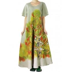 Sukienka lniana ręcznie malowane