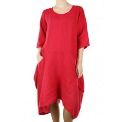 Red linen midi dress