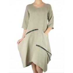 Asymetryczna lniana sukienka midi