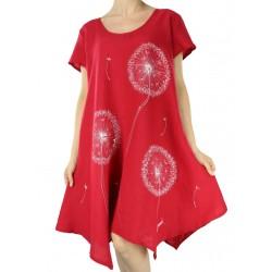 Czerwona lniana sukienka, ręcznie malowana