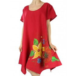 Red linen dress, hand-painted